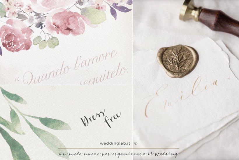 tre esempi di partecipazioni grafiche watercolor e sigillo