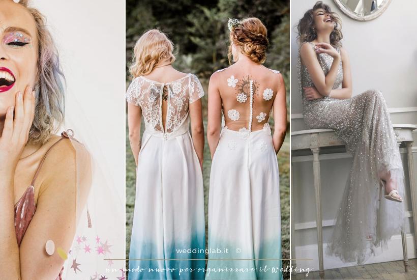 abiti da sposa colorati e glitterati colori turchese e rosa