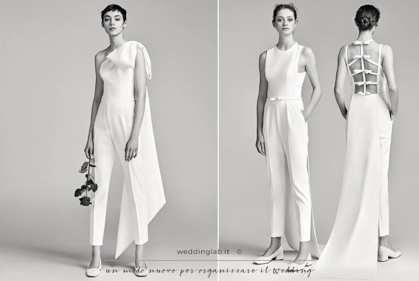 due abiti da sposa con pantalone e strascico