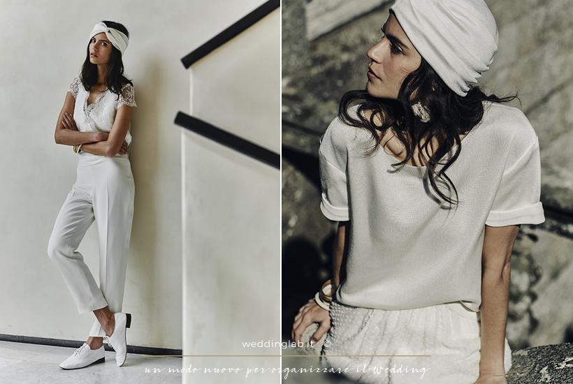 due completi da sposa con pantalone bianco e turbante