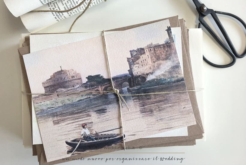 Fronte di una cartolina di nozze - partecipazioni matrimonio a tema viaggio