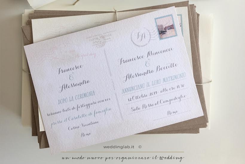 Retro di una cartolina di nozze - partecipazioni matrimonio a tema viaggio