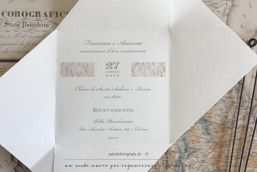 Partecipazione a mo' di mappa cartografica - partecipazioni matrimonio a tema viaggio