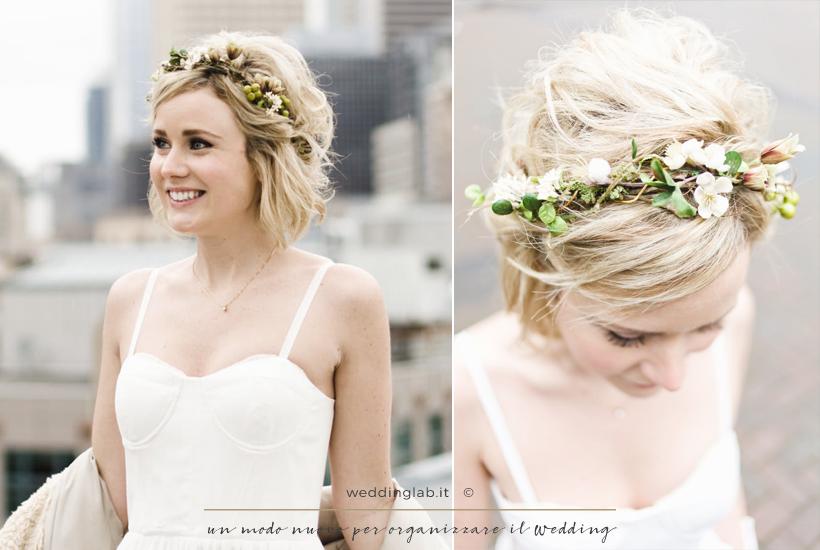 Acconciature sposa: capelli corti con corona di fiori
