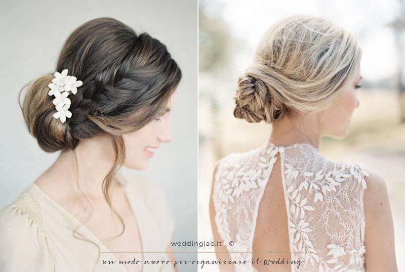 Acconciature sposa: capelli lunghi raccolti in uno chignon basso con treccia