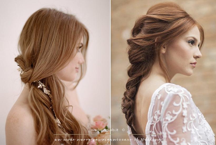 Acconciature sposa: capelli lunghi in un raccolto semplice laterale e in una treccia morbida