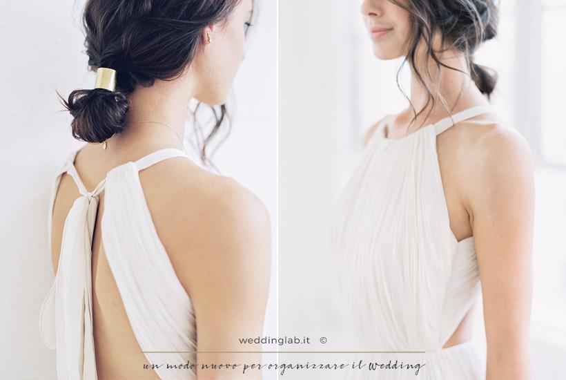 Acconciature sposa: capelli medi con un raccolto morbido