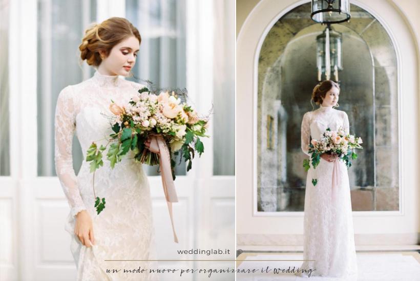 matrimonio invernale - sposa con abito stile romantico