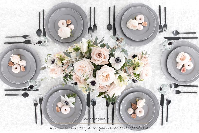 matrimonio-invernale - allestimento tavola grigio e rosa cipria
